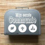 herinneringskoffer communie, kado communie, orgineel cadeau voor communikantje, naamcadeau