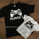 hetzelfde t-shirt vader zoon player 1 player 2, twinningshirts