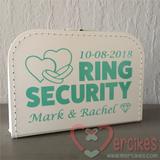 wit koffer ring security met mintkleurige opdruk