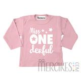 Shirt miss onederful ster - Lange mouw_