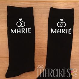 Bedrukte sokken Marié - Strak Lettertype