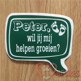 Losse sticker Peter / Peetoom, wil jij mij helpen groeien?