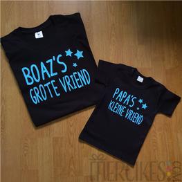 Matching t-shirts Papa's Kleine Vriend(in), Naam's Grote Vriend