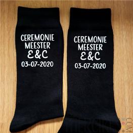 Kado Ceremoniemeester -Sokken Ceremoniemeester Initialen en Datum
