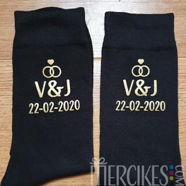 Algemene sokken bruiloft Initialen en Datum