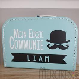 Koffertje voor communie Snor en Naam Tweekleuren