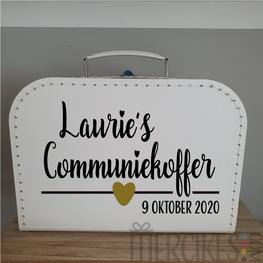 Naam communiekoffer met datum - hartje