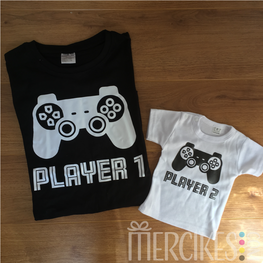 Set van 2 Matching Shirts - Player 1 en Player 2