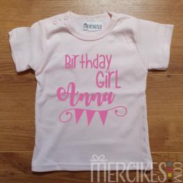 Verjaardag Shirt Birthday Girl met Naam Korte Mouw