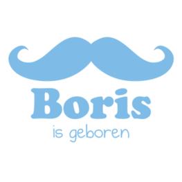 Geboortesticker met Naam Mustache