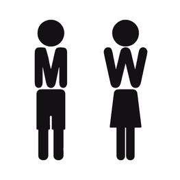 Toiletsticker Poppetje M en W