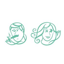 Toiletsticker Getekende Man en Vrouw