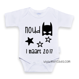 Geboorteromper superhero met gegevens