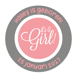 Geboortesticker Fullcolor It`s a Girl Rond