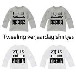 Set van 2 Verjaardag Shirtjes voor een Tweeling