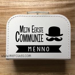 Koffertje voor communie Snor en Naam