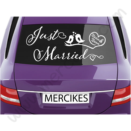 Autosticker Just Married met Vogeltjes