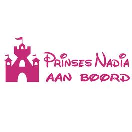 Auto sticker aan boord- Prinses met Naam Kasteel