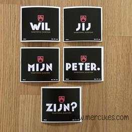 Set van 5 Bieretiketten Omer - Wil jij mijn Meter / Peter zijn?