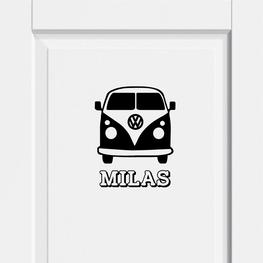 Deursticker Volkswagen busje met Naam