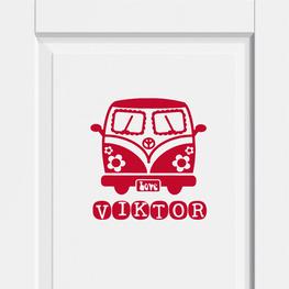 Deursticker Transporter Hippie met Naam