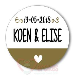 Sticker 6 cm Huwelijk Hartje Onderin