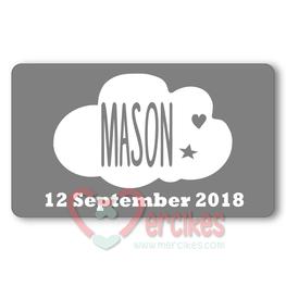 Sticker 6 x 3,5 cm Geboorte Wolk Datum