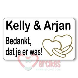 Sticker 6 x 3,5 cm Huwelijk Bedankt Ringen