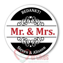 Sticker 6 cm Huwelijk Mr & Mrs