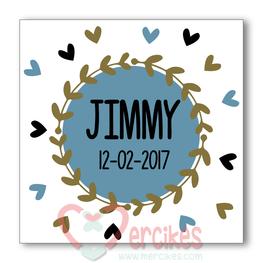 Sticker 6 cm Geboorte - Trend Jongen