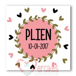 Sticker 6 cm Geboorte - Trend Meisje