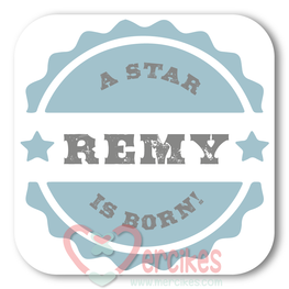 Sticker 6 cm Geboorte - a Star is Born Jongen