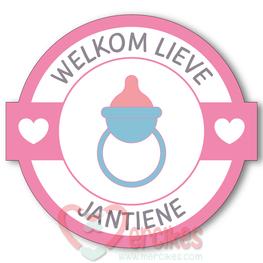Sticker 6 cm Geboorte - Welkom Speen Meisje