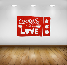 Muursticker - Keuken - Cooking is Love