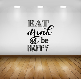 Muursticker - Keuken - Eat Drink and be Happy