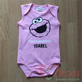 Cadeau Baby Poepiemonster met Naam Roze