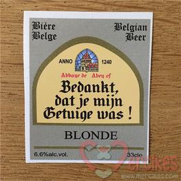 Bedankje Getuige Bierlabel voor klein flesje Leffe