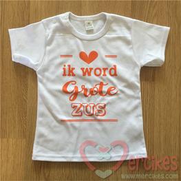 T-shirt Ik word Grote Zus Lijnen Hart