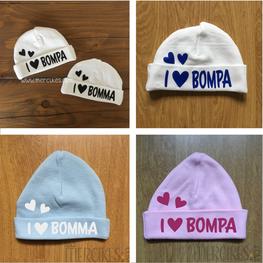 Babymutsje I love Bomma - I love Bompa