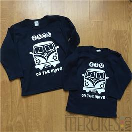 Shirtje Volkswagenbusje Hippie met Naam