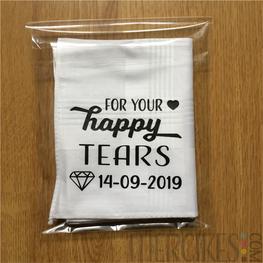 Zakdoek for your Happy Tears met Trouwdatum