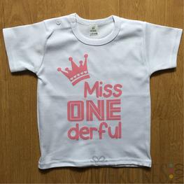 Verjaardagshirt Eerste Verjaardag Miss Onederful Kroon Korte Mouw