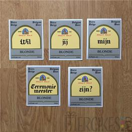 Leffe etiketten met tekst - Set van 5 Wil jij mijn ceremoniemeester zijn?