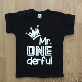 Verjaardagshirt Eerste Verjaardag Mr Onederful Kroon Korte Mouw