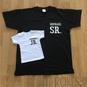 gepersonaliseerde t-shirt Senior junior met achternaam