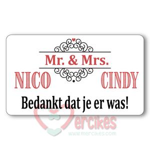 Sticker 6 x 3,5 cm Huwelijk Mr en Mrs