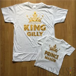 zelfde shirt voor papa en zoon, king en prince