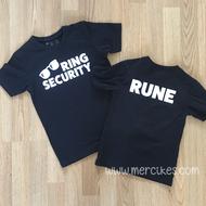 ring security tshirt met naam op de achterkant